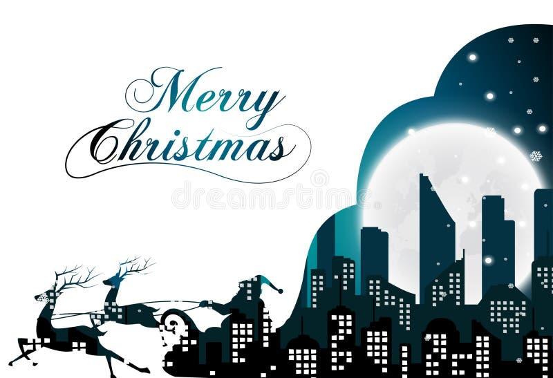 与城市和夜的圣诞老人剪影的圣诞节 皇族释放例证