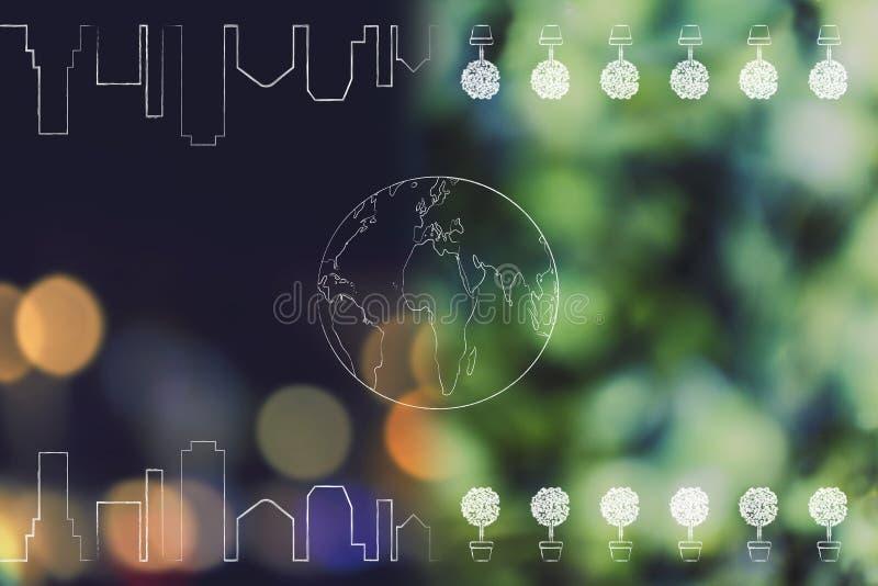 与城市地平线的世界地球和树反射了在夜间 库存例证