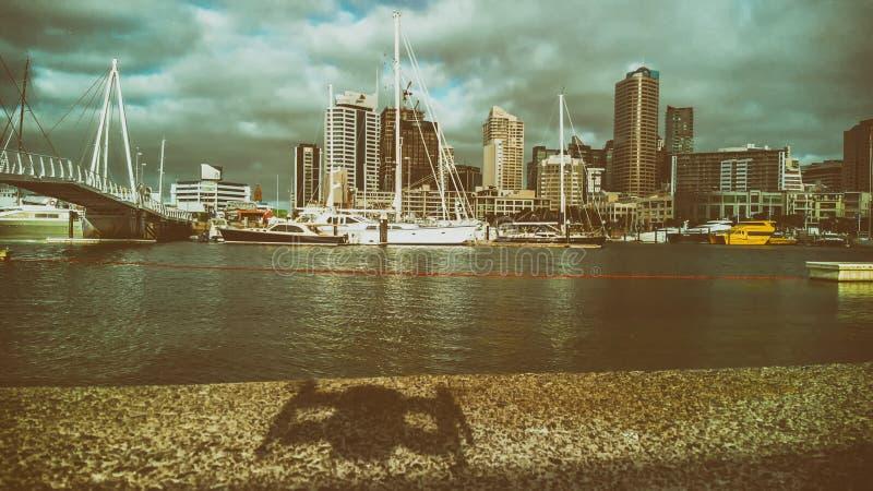 与城市地平线的寄生虫阴影 库存图片