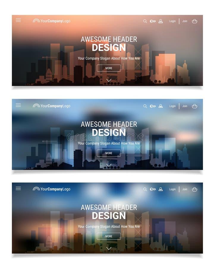 与城市地平线的被弄脏的多角形倒栽跳水滑子Webdesign成套工具 库存例证