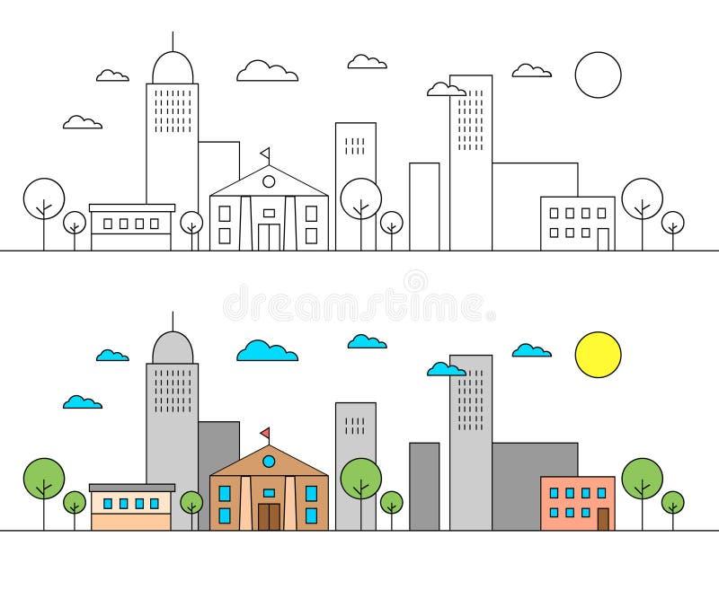 与城市地平线的风景与博物馆 编辑可能的冲程 平的设计线传染媒介例证概念 编辑可能的冲程 库存例证