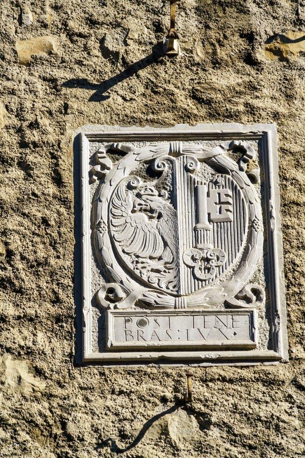 与城市徽章,日内瓦,瑞士的老标志 免版税库存照片