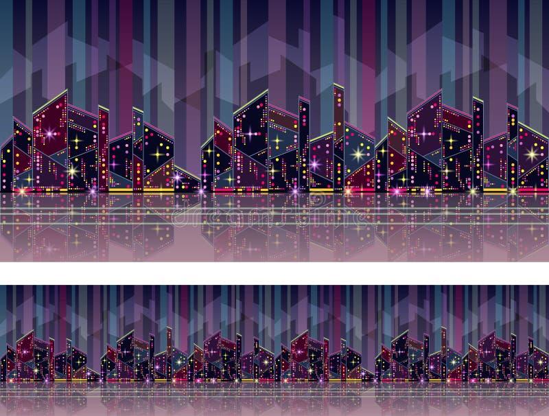 与城市摩天大楼的无缝的样式 库存例证