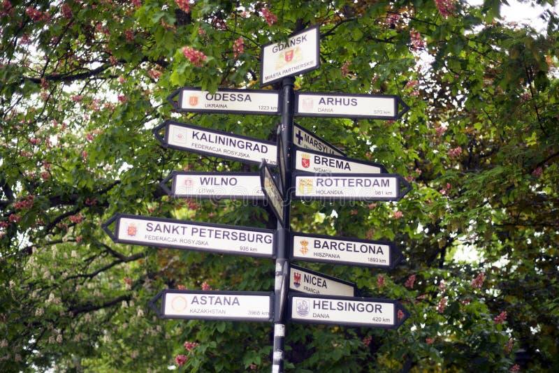 与城市的名字的旅游标志 免版税库存图片