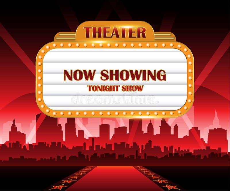 与城市的明亮金剧院发光的减速火箭的戏院霓虹灯广告在背景中 库存例证