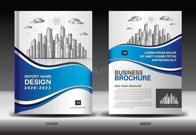 与城市风景,年终报告封面设计,企业小册子飞行物模板,广告,书套的蓝色盖子模板 库存例证