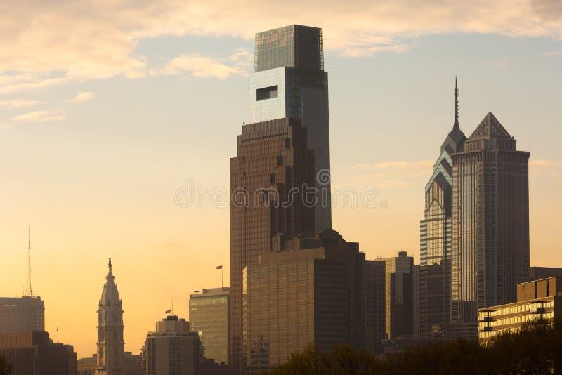 与城市Hal的街市地平线在费城 库存图片