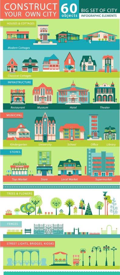 与城市Infographic对象的大集合 向量例证