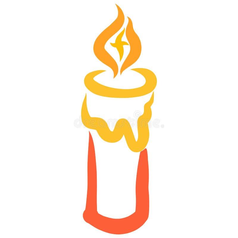 与基督徒十字架的燃烧的蜡烛在火焰 向量例证