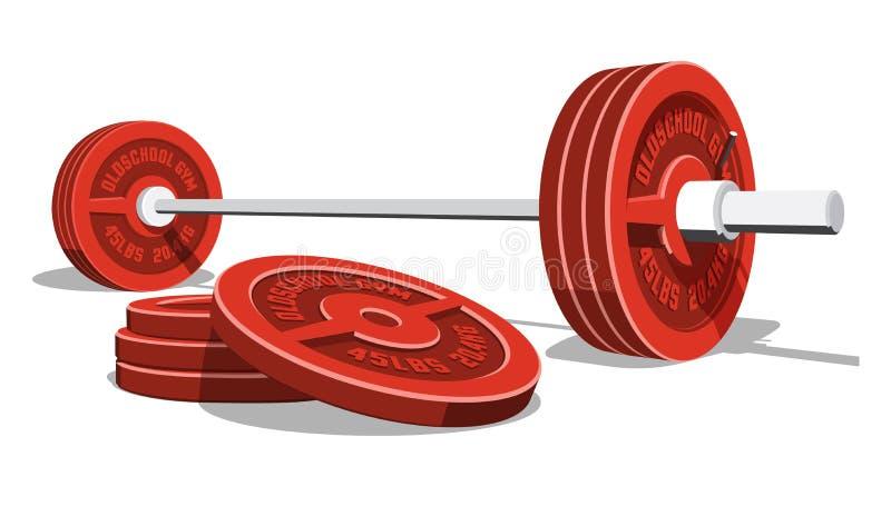与堆的举重杠铃红色圆盘 库存例证