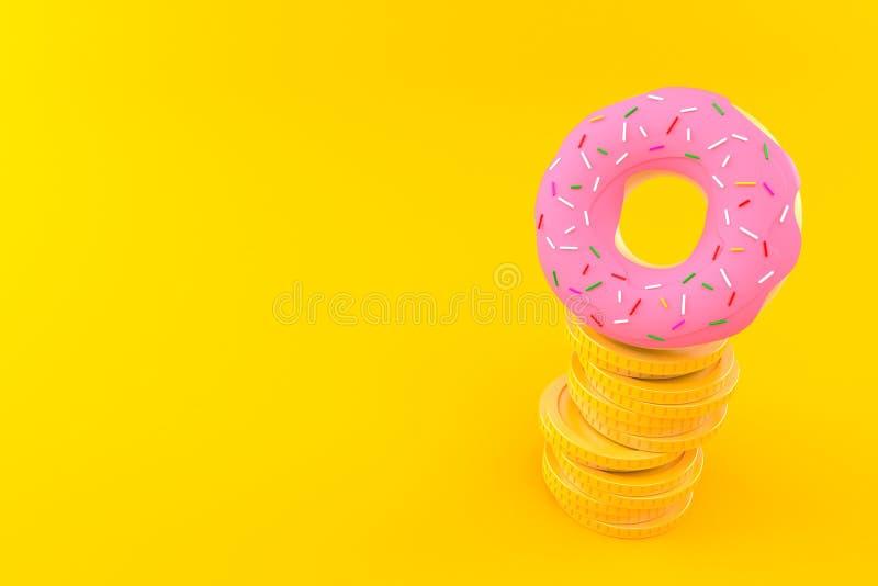 与堆的多福饼硬币 向量例证