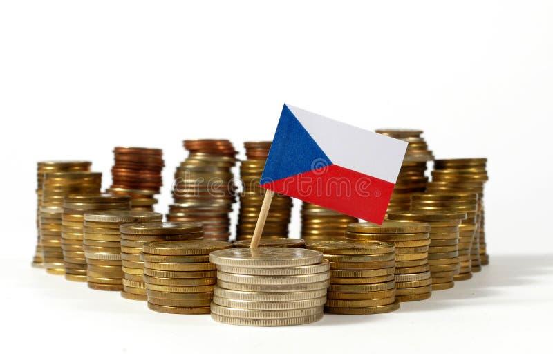与堆的捷克旗子金钱硬币 库存图片