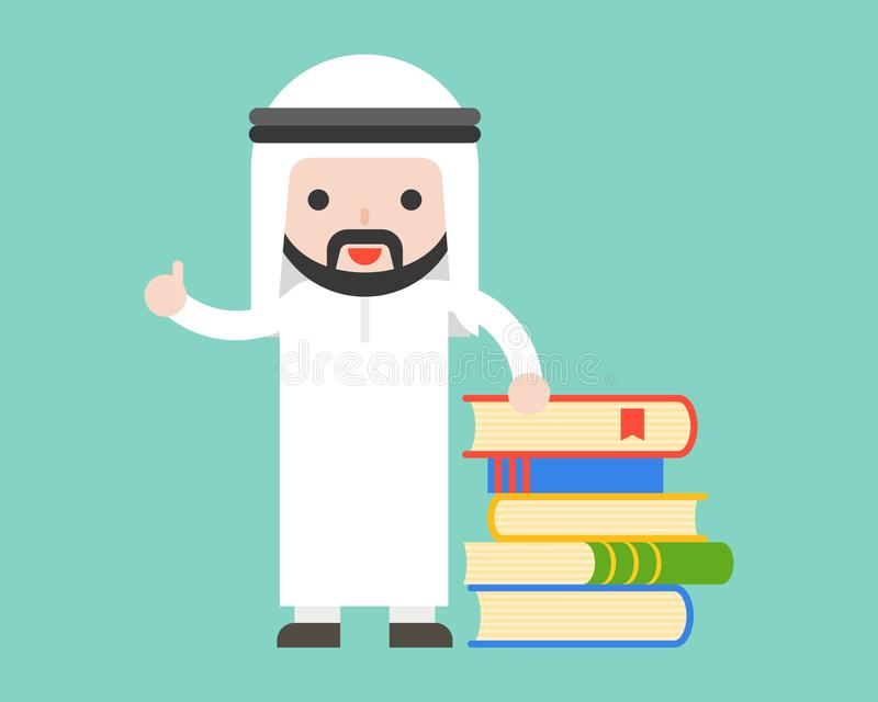与堆的阿拉伯商人、图书管理员或者老师立场书 库存例证