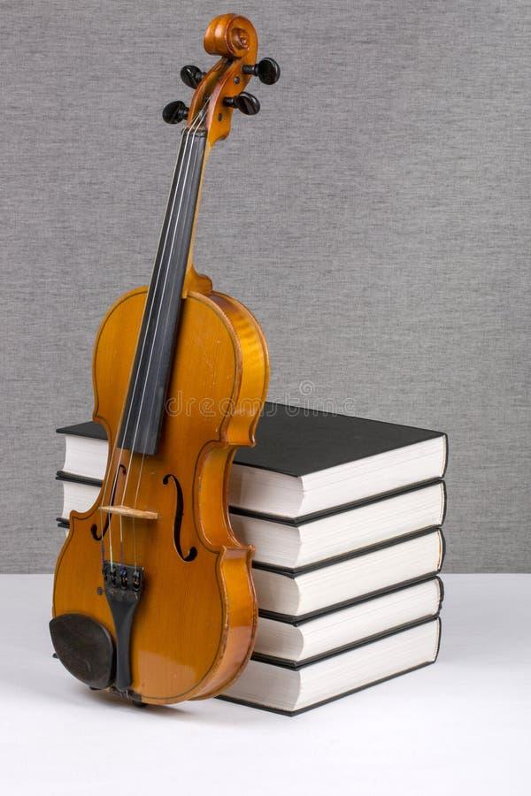 与堆的静物画书和小提琴 免版税图库摄影