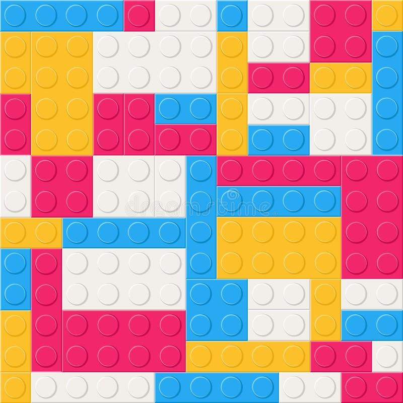 与塑料建筑细节、零件或者片断的无缝的样式 与五颜六色的连结的玩具砖的背景或 皇族释放例证