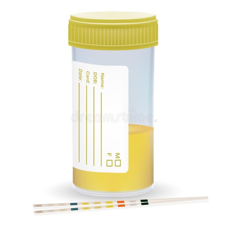 与塑料瓶子的尿检小条尿 在白色背景的身体检查 现实传染媒介 皇族释放例证