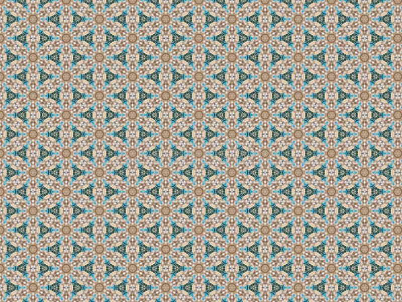 与塑料蓝色和绿色圣诞树分支和浅褐色的颜色被编织的雪花的样式的背景  向量例证