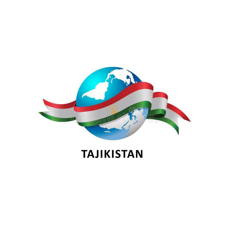 与塔吉克斯坦旗子的世界 免版税库存图片