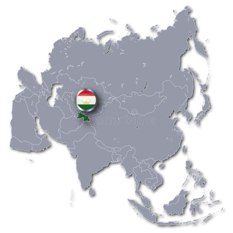 与塔吉克斯坦的亚洲地图 皇族释放例证