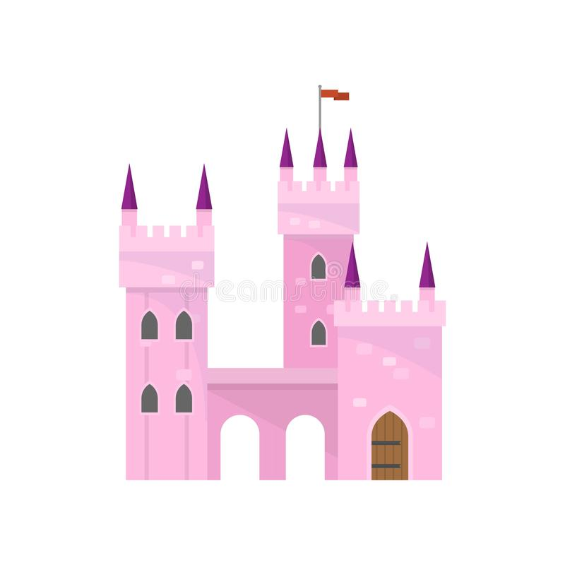 与塔大厦的美丽的桃红色城堡国王公主的 库存例证