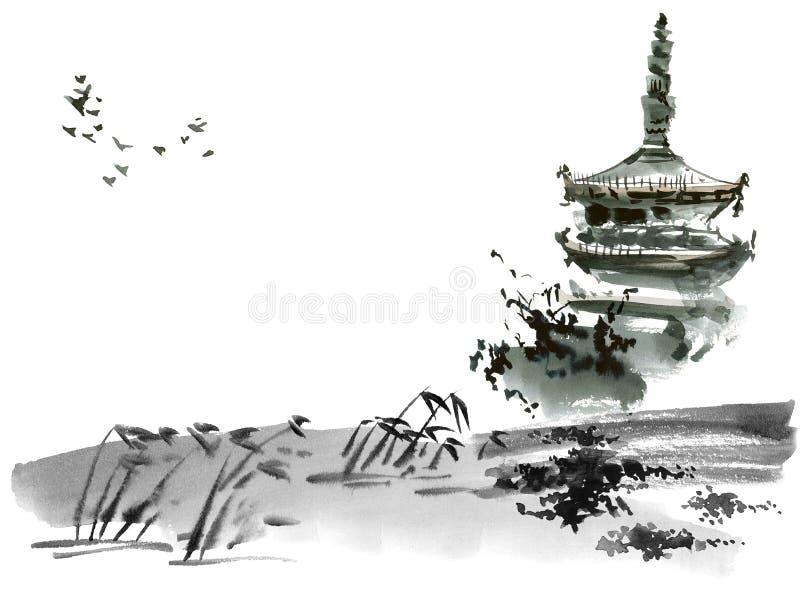 与塔的中国风景 向量例证