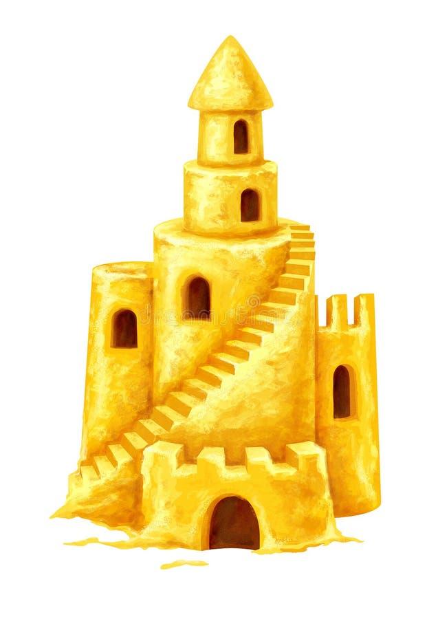 与塔窗口和台阶的沙子城堡 免版税图库摄影