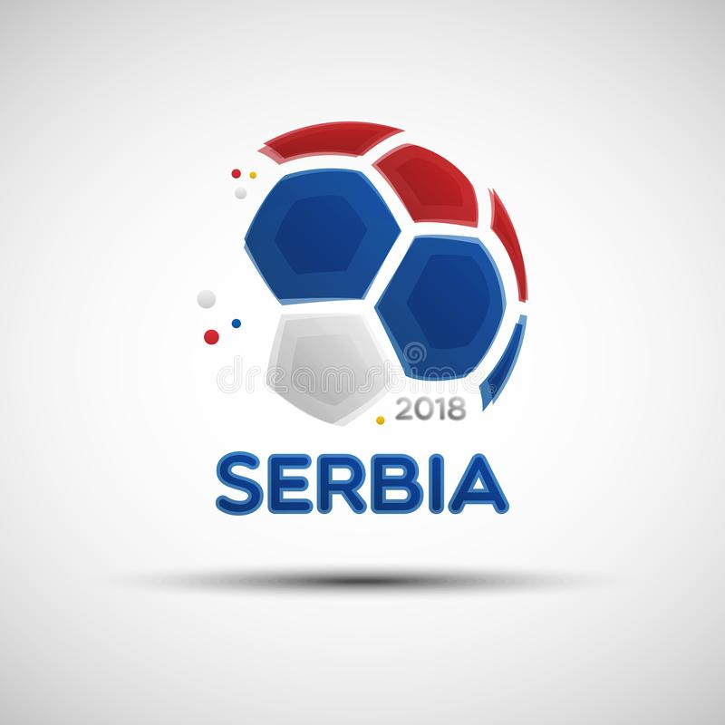 与塞尔维亚国旗颜色的抽象足球 皇族释放例证
