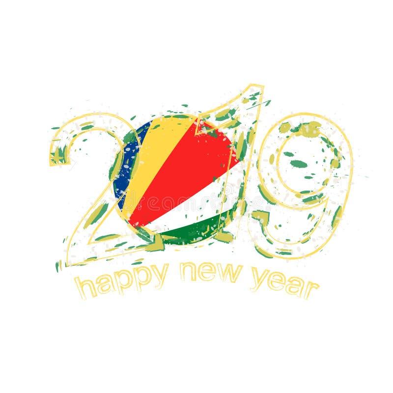 与塞舌尔的旗子的愉快的新的2019年,假日难看的东西vect 皇族释放例证