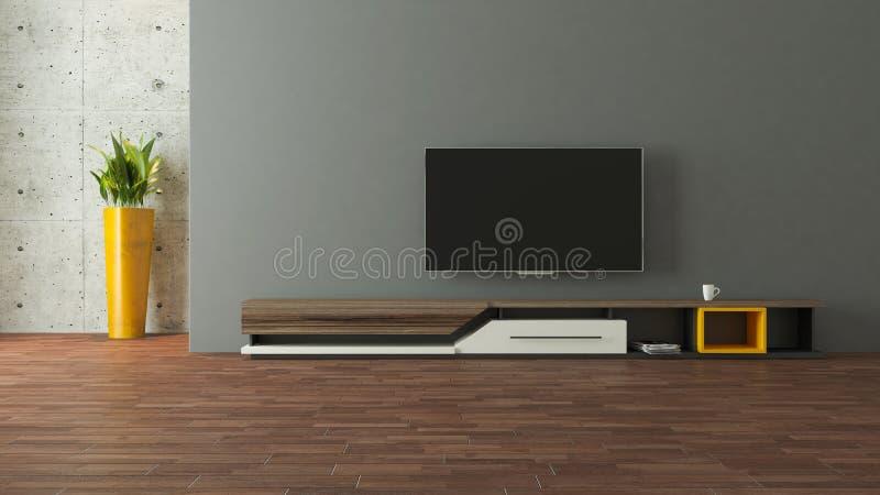 与墙壁设计的现代电视立场 皇族释放例证