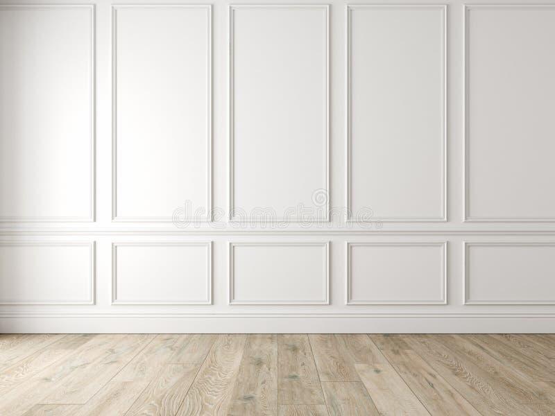 与墙板和木地板的现代经典白色空的内部 向量例证