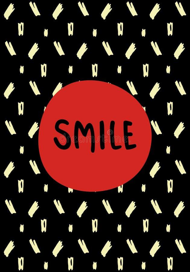 与墨水元素和微笑字法的手拉的贺卡 免版税库存图片