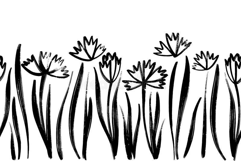 与墨水图画春天花的传染媒介无缝的边界,艺术性的植物的例证,被隔绝的花卉元素,手 库存例证