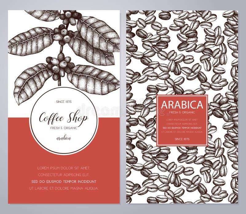 与墨水手拉的咖啡例证的传染媒介成套设计 有叶子和果子剪影的阿拉伯咖啡植物 葡萄酒模板f 库存例证