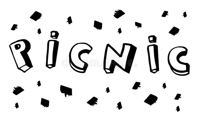 与墨水斑点的传染媒介手拉的野餐字法 库存例证