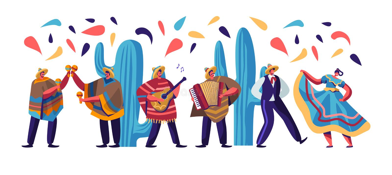与墨西哥人民的Cinco De马约角节日五颜六色的传统衣裳、音乐家有吉他的,Maracas和手风琴舞蹈家的 皇族释放例证