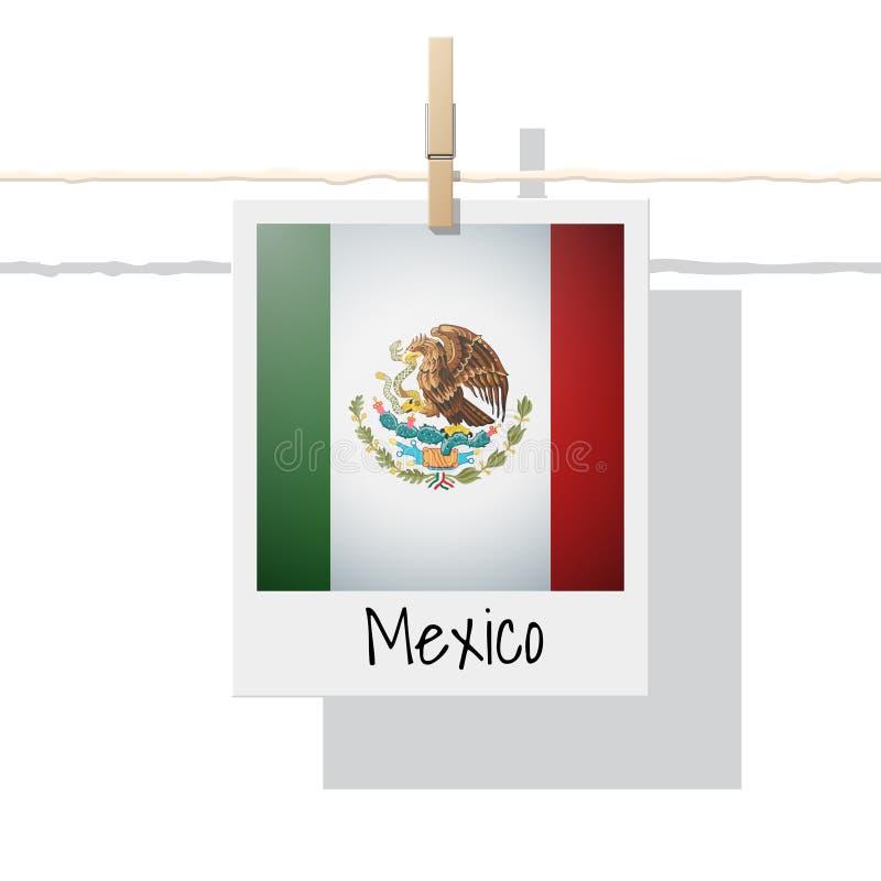 与墨西哥旗子照片的北美大陆旗子收藏  向量例证