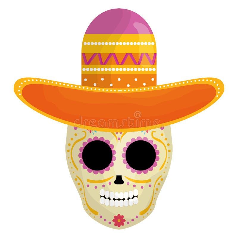 与墨西哥流浪乐队帽子的墨西哥头骨死人面模 库存例证