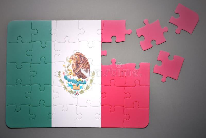 与墨西哥的国旗的难题 免版税库存图片