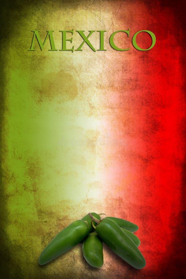 与墨西哥胡椒的墨西哥国旗 免版税库存图片