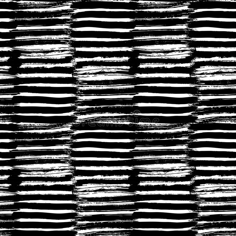 与墨水刷子冲程的传染媒介手画无缝的样式 图库摄影