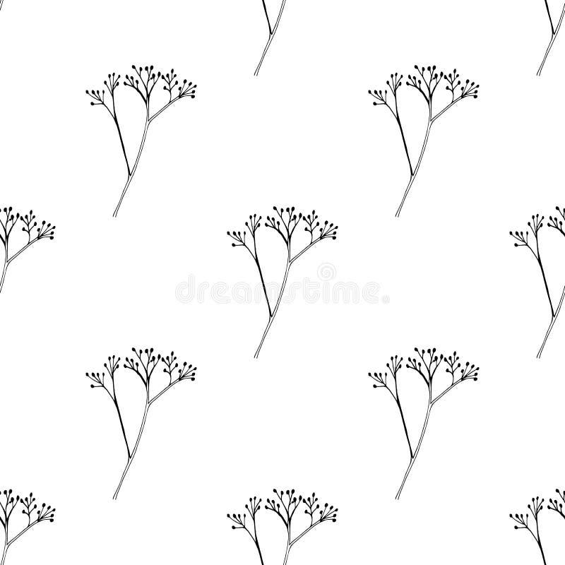 与墨水手拉的草本剪影的无缝的葡萄酒样式 背景草本基础的设计 向量例证