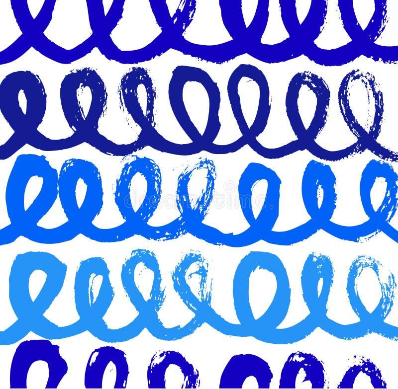 与墨水线的抽象蓝色油漆样式 向量例证