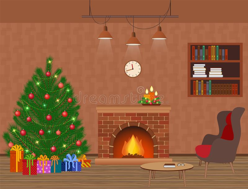 与壁炉、圣诞树和礼物的客厅内部假日设计 圣诞节国内装饰 向量例证