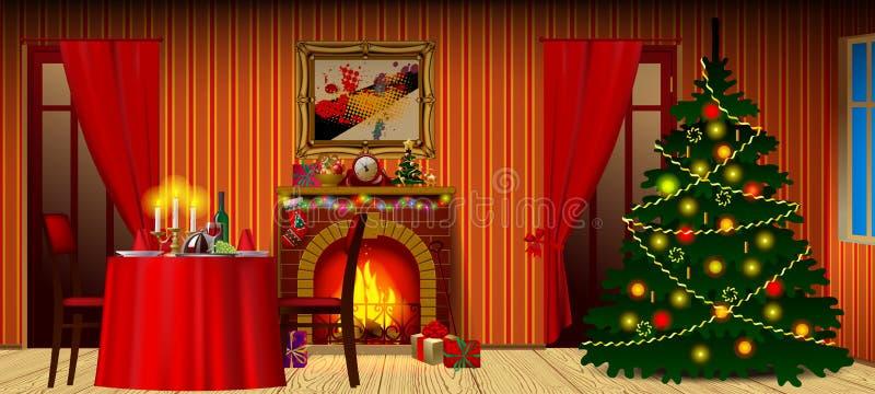 与壁炉、礼物和装饰的圣诞节t的假日内部 库存例证