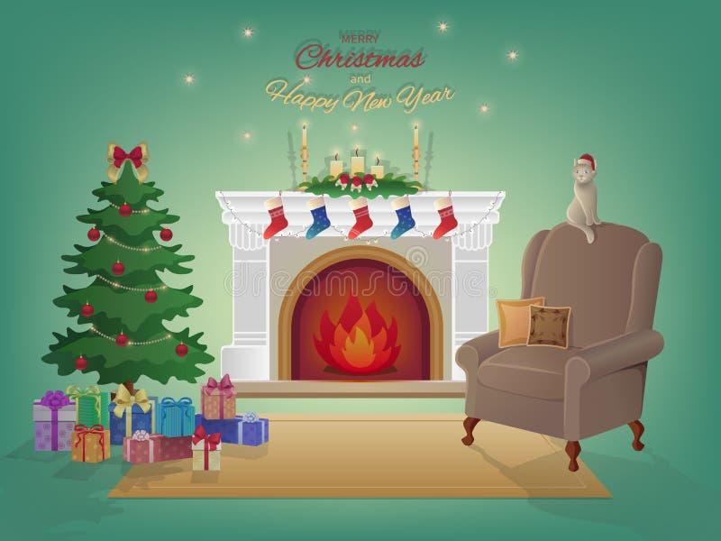 与壁炉的圣诞快乐家庭内部,圣诞树,扶手椅子,有礼物的五颜六色的箱子 蜡烛,袜子,装饰 向量例证