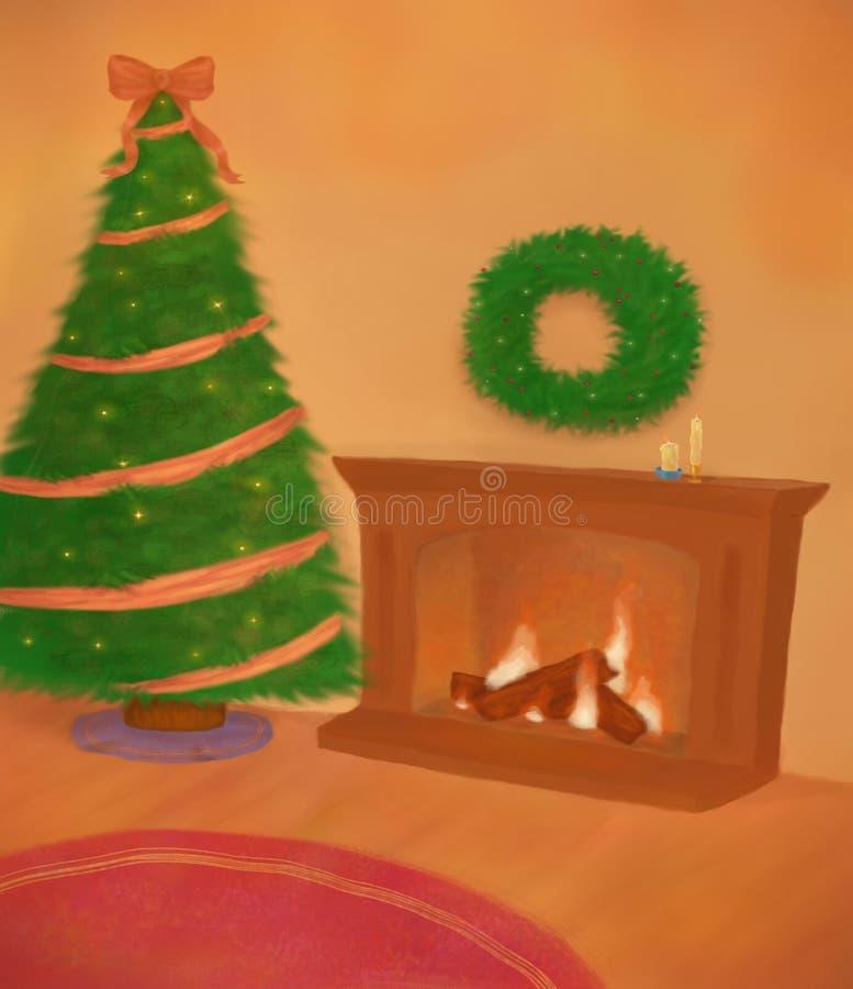 与壁炉的圣诞节内部 免版税库存照片