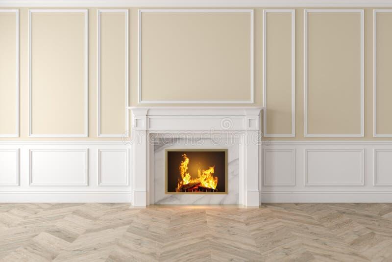 与壁炉,墙板,木地板的现代经典米黄内部 皇族释放例证