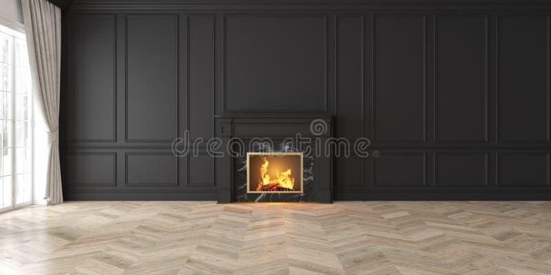 与壁炉,帷幕,窗口,墙板的经典空的黑内部 向量例证