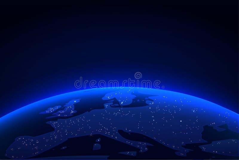 与壮观的光的行星地球 从空间背景的蓝色地球地球和光天际 也corel凹道例证向量 向量例证