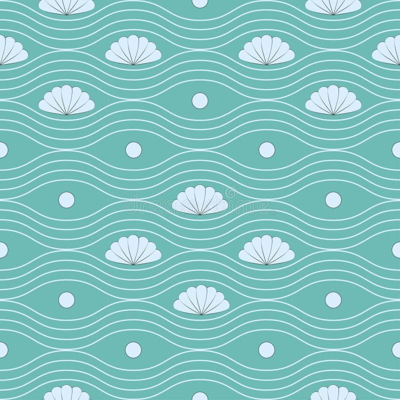 Download 与壳和波浪线的无缝的样式 向量例证. 插画 包括有 波浪, 背包, 模式, 通知, 海洋, 蓝色, 纹理 - 30333030
